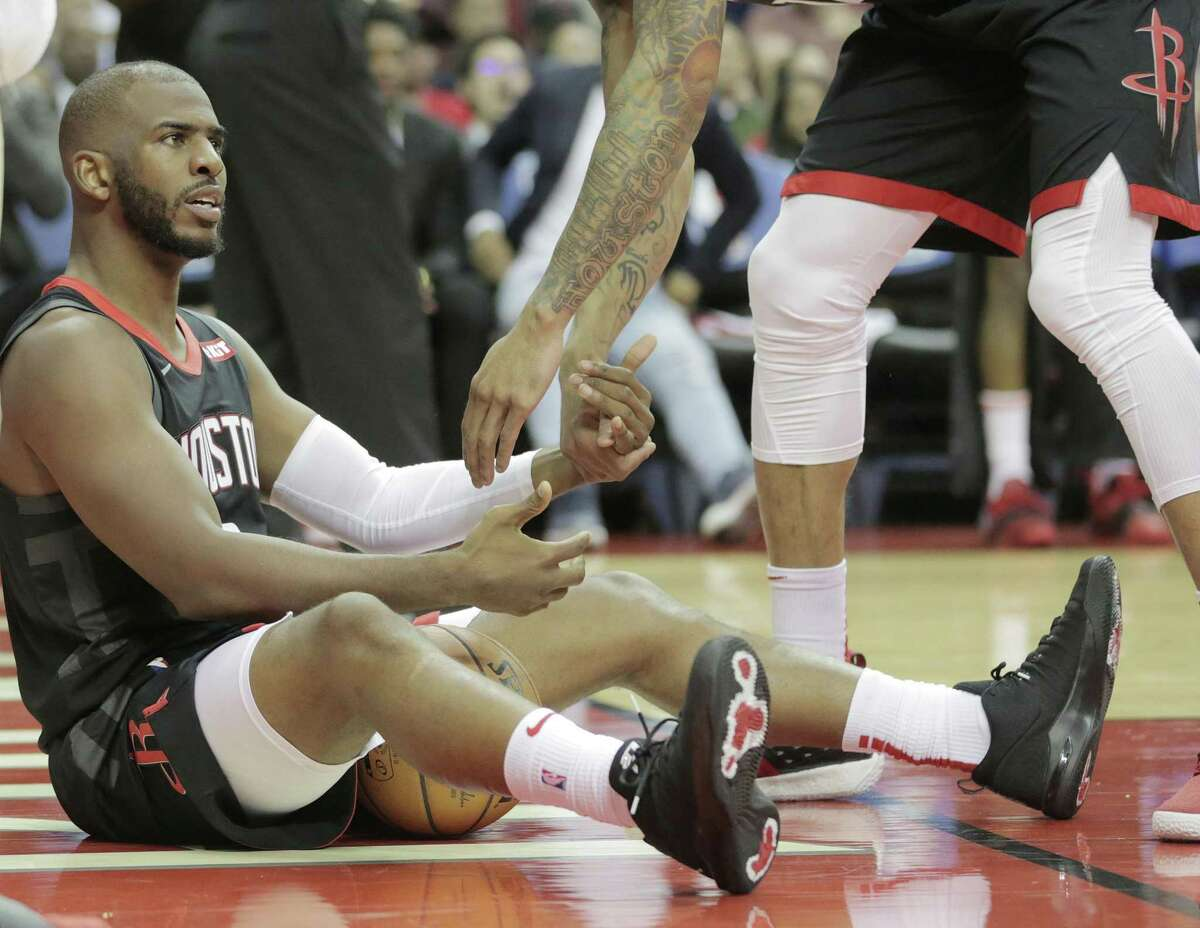 Houston Rockets guard Chris Paul (3) not happy about a foul call in the fourth inning against the New Orleans Pelicans at the Toyota Center on Wednesday, Oct. 17, 2018 in Houston. New Orleans Pelicans won the game 131-112.