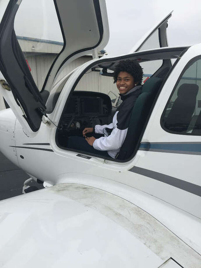 Pictured are two scenes from Girls in Aviation Day, which was conducted at St. Louis Downtown Airport in Cahokia. Photo: For The Intelligencer