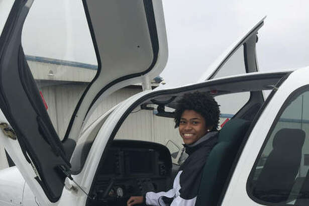 Pictured are two scenes from Girls in Aviation Day, which was conducted at St. Louis Downtown Airport in Cahokia.