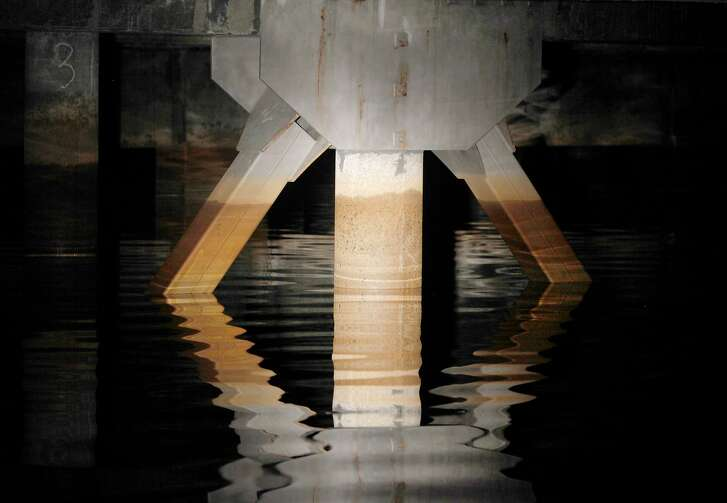 Recently added earthquake bracing is seen inside the northern Sunset Reservoir in San Francisco, Calif. on Friday, July 24, 2015. The city PUC's $4.8 billion program to improve the water system is nearly completed.