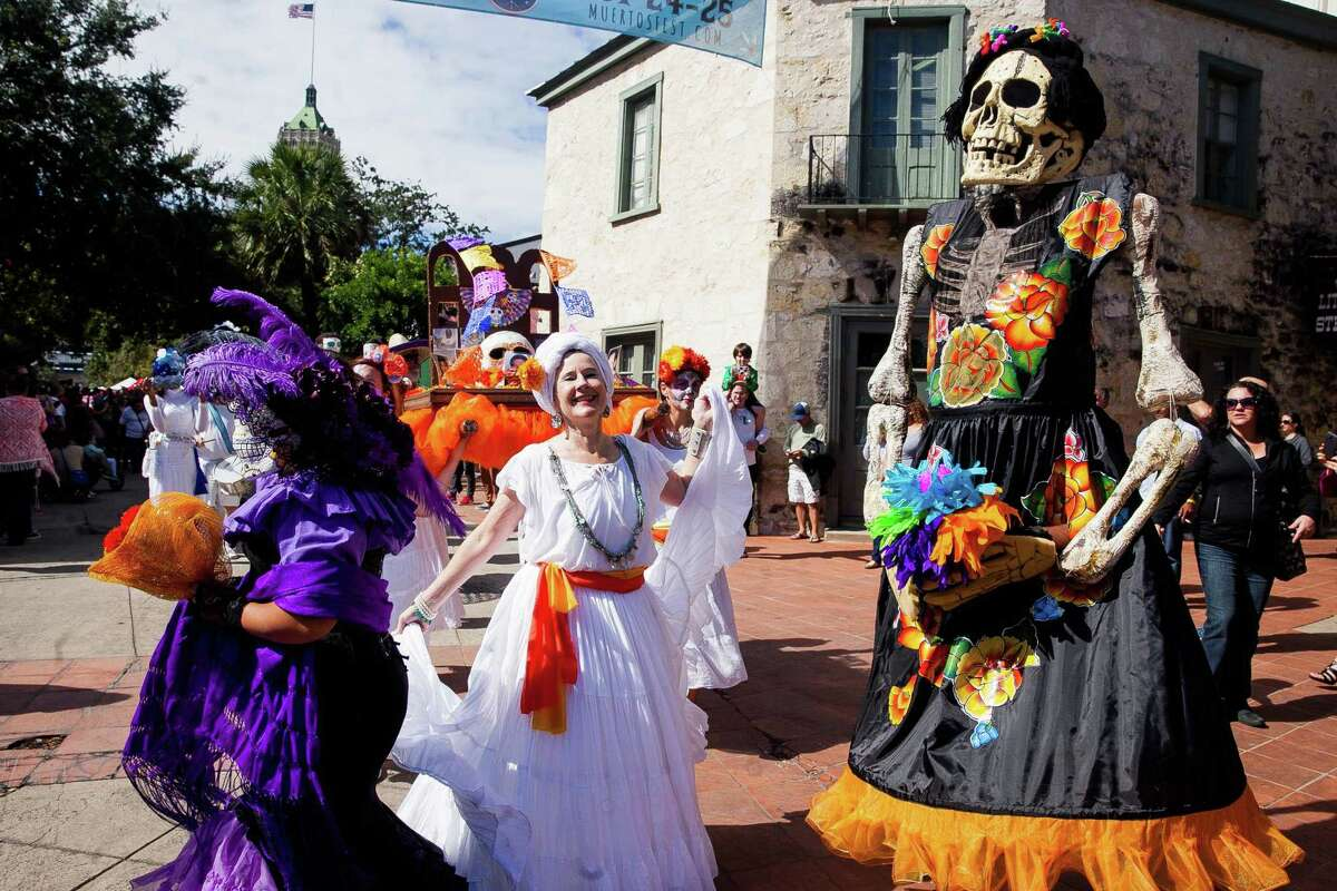 """Dia de los Muertos celebrations """"November begins with Dia de los Muertos, the traditional Mexican holiday that remembers those who have passed away. Music, processions, performances, and costumed dancers will pay tribute in Pearl Park (Nov. 1-2) and Market Square (Nov. 3-4)."""" Source:Travel and Leisure Magazine"""