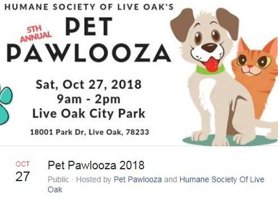Pet Pawlooza 2018 Oct. 27, 9 a.m. - 2 p.m.18001 Park DriveHosted by Pet Pawlooza and Humane Society of Live Oak Photo: Facebook Screengrab