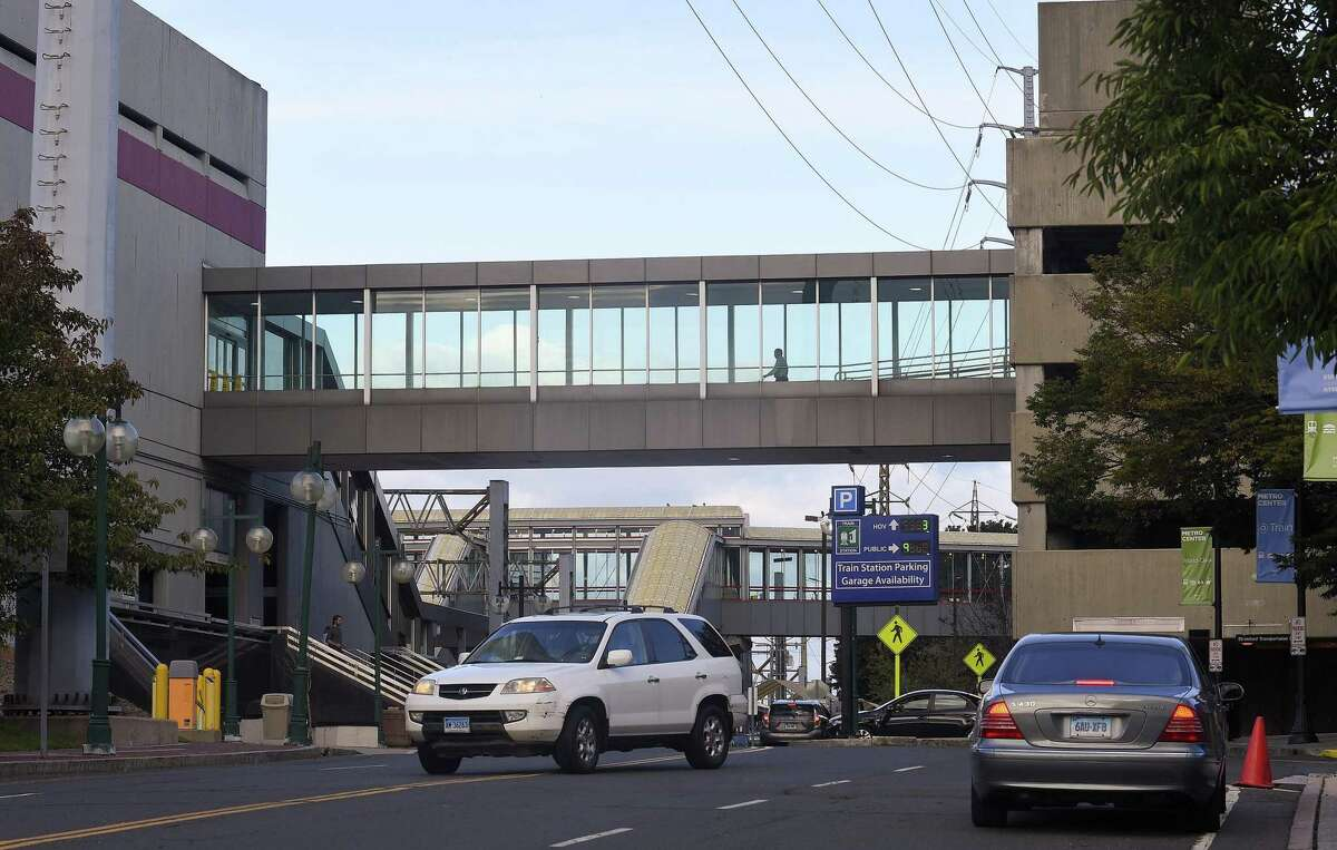 A motorist exits onto Station Place at the Stamford Train Station on Oct. 3, 2018 in Stamford, Connecticut. State has committed $60 million to building a new parking garage at the Stamford train station. The DOT's deal with a private partnership died more than a year ago, and city officials want the DOT to include them in the details, which did not happen with the last proposal.