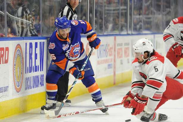 The Sound Tigers' Stephen Gionta skates against the Checkers on Feb. 25 in Bridgeport.