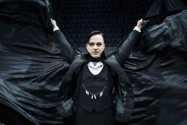 """Jay Sullivan stars in """"Dracula the Original Vampire Play,"""" the Alley Theatre's production is based on the original 1927 adaptation of the classic thriller with the designs of Edward Gorey."""