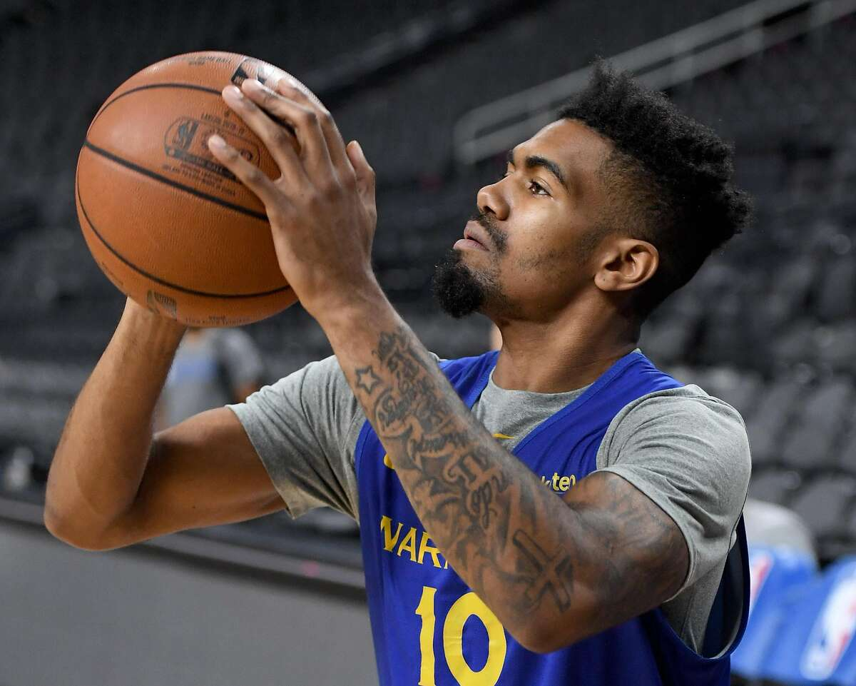 LAS VEGAS, NEVADA - OCTOBER 10: Jacob Evans III #10 of the Golden State Warriors attends a shootaround ahead of the team's preseason game against the Los Angeles Lakers at T-Mobile Arena on October 10, 2018 in Las Vegas, Nevada. NOTE TO USER: User expressly acknowledges and agrees that, by downloading and or using this photograph, User is consenting to the terms and conditions of the Getty Images License Agreement. (Photo by Ethan Miller/Getty Images)