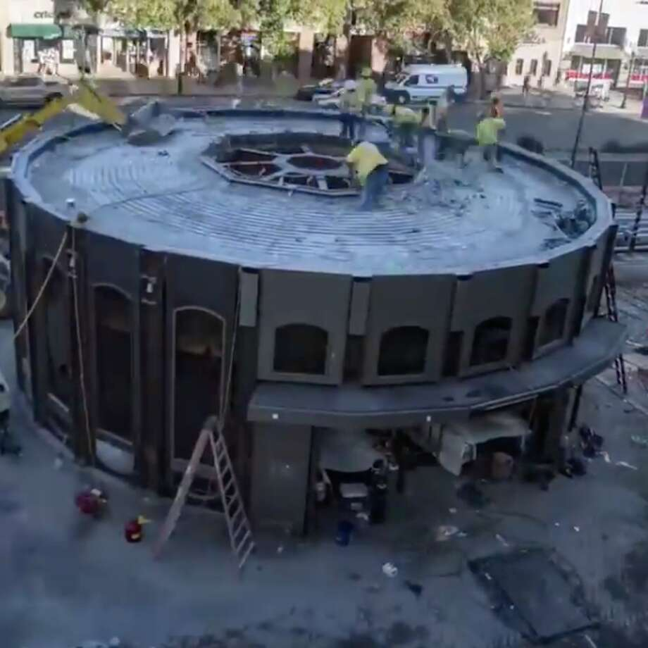 Screen grabs from a timelapse video of the construction of the Downtown Berkeley BART Station plaza, which took 15 months and cost $13 million. Photo: BART