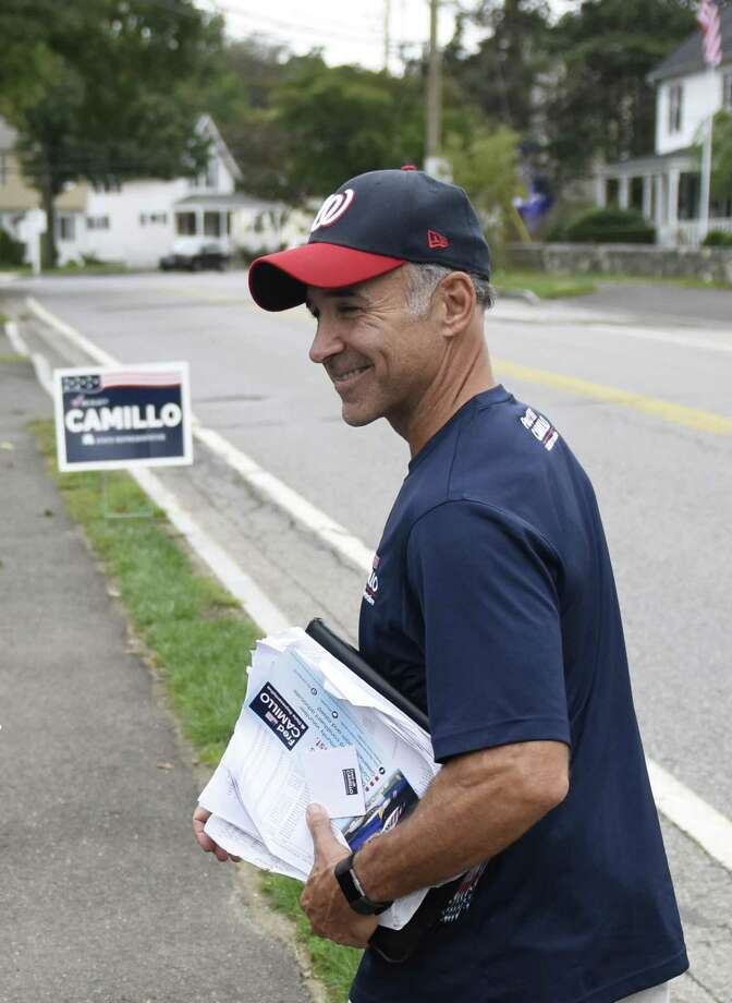 State Rep. Fred Camillo, R-Greenwich, canvasses in the Cos Cob section of Greenwich, Conn. Tuesday, Oct. 9, 2018. Incumbent State Rep. Camillo, representing District 151, is up for re-election against Democratic challenger Laura Kostin. Photo: Tyler Sizemore / Hearst Connecticut Media / Greenwich Time