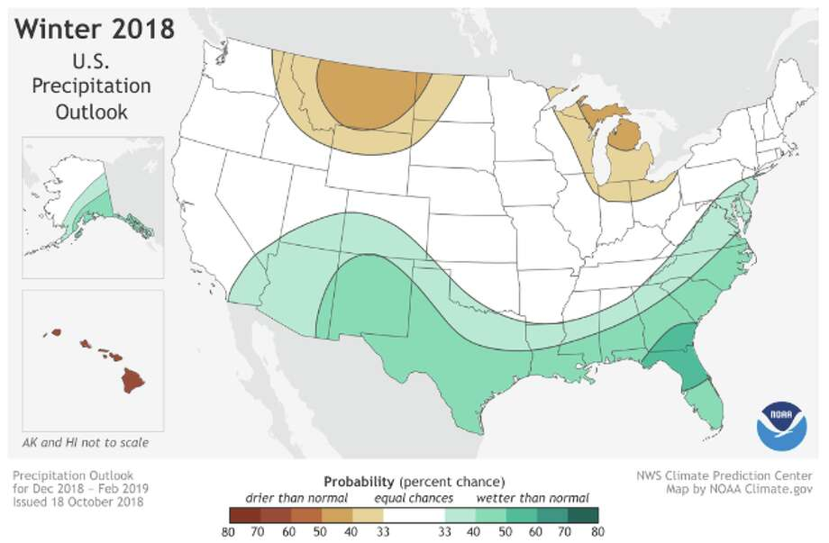 NOAA's precipitation outlook for winter 2018 indicates the South will be wetter than usual. Photo: NOAA