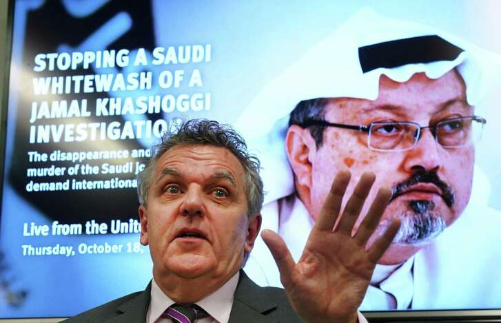 Robert Mahoney, deputy executive director of the Committee to Protect Journalists speaks during a news conference at the United Nations on October 18, 2018. Members from Human Rights Watch, Amnesty International, The Committee to Protect Journalists and Reporters Without Border make an appeal regarding the disappearance of Saudi journalist Jamal Khashoggi.