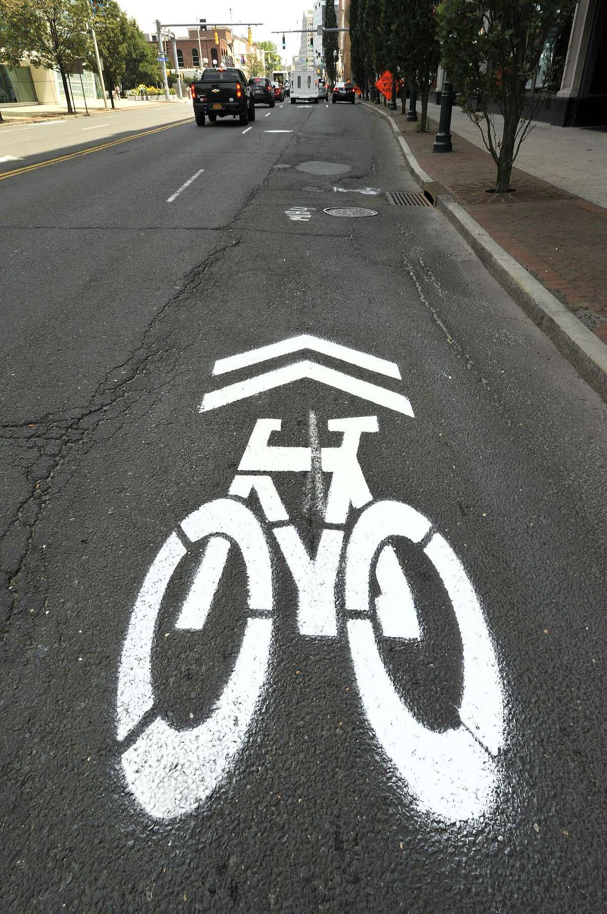 Shared use arrows are painted along Broad Street between Washington Boulevard and Atlantic Street in Stamford, Conn., on Tuesday, July 28, 2015. This is the start of a network of shared bicycle lanes that will run throughout the city.