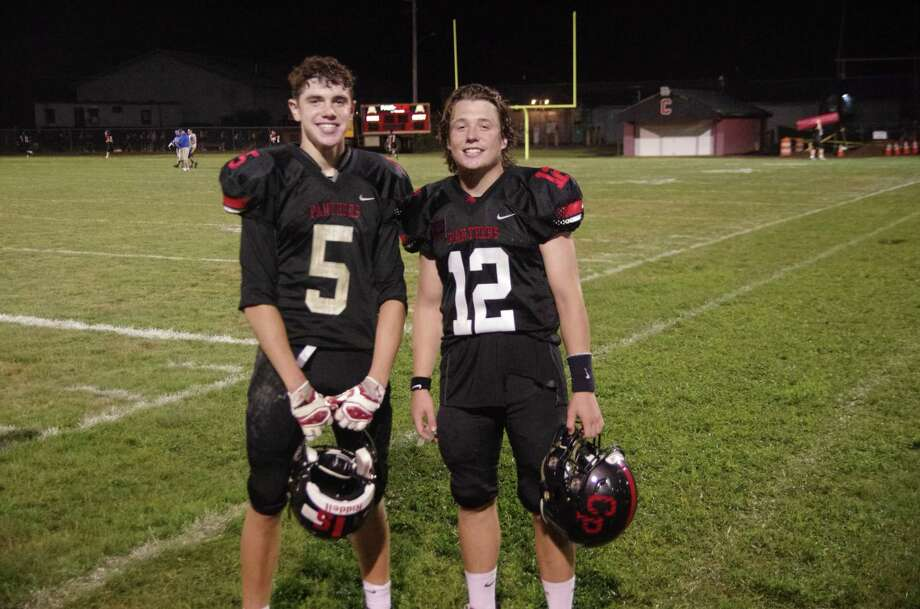 Childhood friends Nick Wright andBryce Karstetter have become a winning combination for the Cromwell-Portland football team this season. Photo: Conbributed / Mark Wright