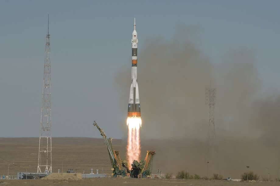 The Soyuz rocket is launched from Kazakhstan on Oct. 11, 2018 with U.S. astronaut Nick Hague and Russian cosmonaut Alexey Ovchinin on board. Photo: Bill Ingalls/NASA / Handout / Handout