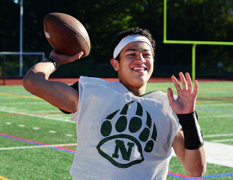 Norwalk High School quarterback Kyle Gordon was all smiles while warming up for practice on Thursday at Testa Field in Norwalk. Photo: John Nash / Hearst Media Connecticut
