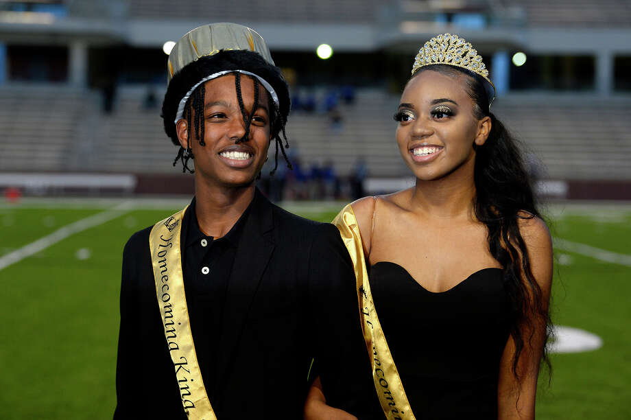Jarell Richmond and Jamya Mitchell are announced as Beaumont United's first homecoming king and queen before the game against Channelview at BISD Memorial Stadium on Thursday night.