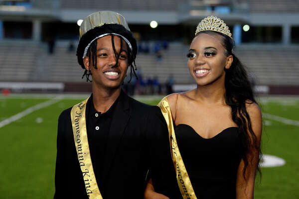 Jarell Richmond and Jamya Mitchell are announced as Beaumont United's first homecoming king and queen before the game against Channelview at BISD Memorial Stadium on Thursday night. Photo taken Thursday 10/18/18 Ryan Pelham/The Enterprise