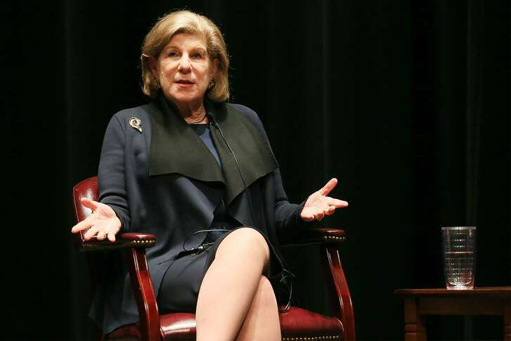 """NPR legal affairs correspondent Nina Totenberg speaks at Trinity University's Laurie Auditorium in a conversation with University President Danny Anderson about """"The Supreme Court and its Impact on You"""" on Thursday, Oct. 18, 2018."""