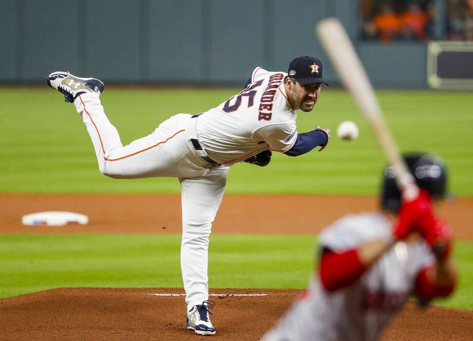 PHOTOS: Contract situations for each Astros player  Houston Astros starting pitcher Justin Verlander (35) pitches during the first inning of Game 5 of the American League Championship Series at Minute Maid Park on Thursday, Oct. 18, 2018, in Houston. >>>Browse through the photos for a look at contract situations for each Astros player ...  Photo: Brett Coomer/Staff Photographer