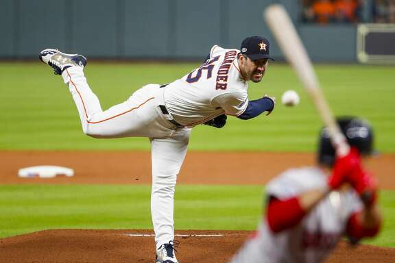 Houston Astros starting pitcher Justin Verlander (35) pitches during the first inning of Game 5 of the American League Championship Series at Minute Maid Park on Thursday, Oct. 18, 2018, in Houston.