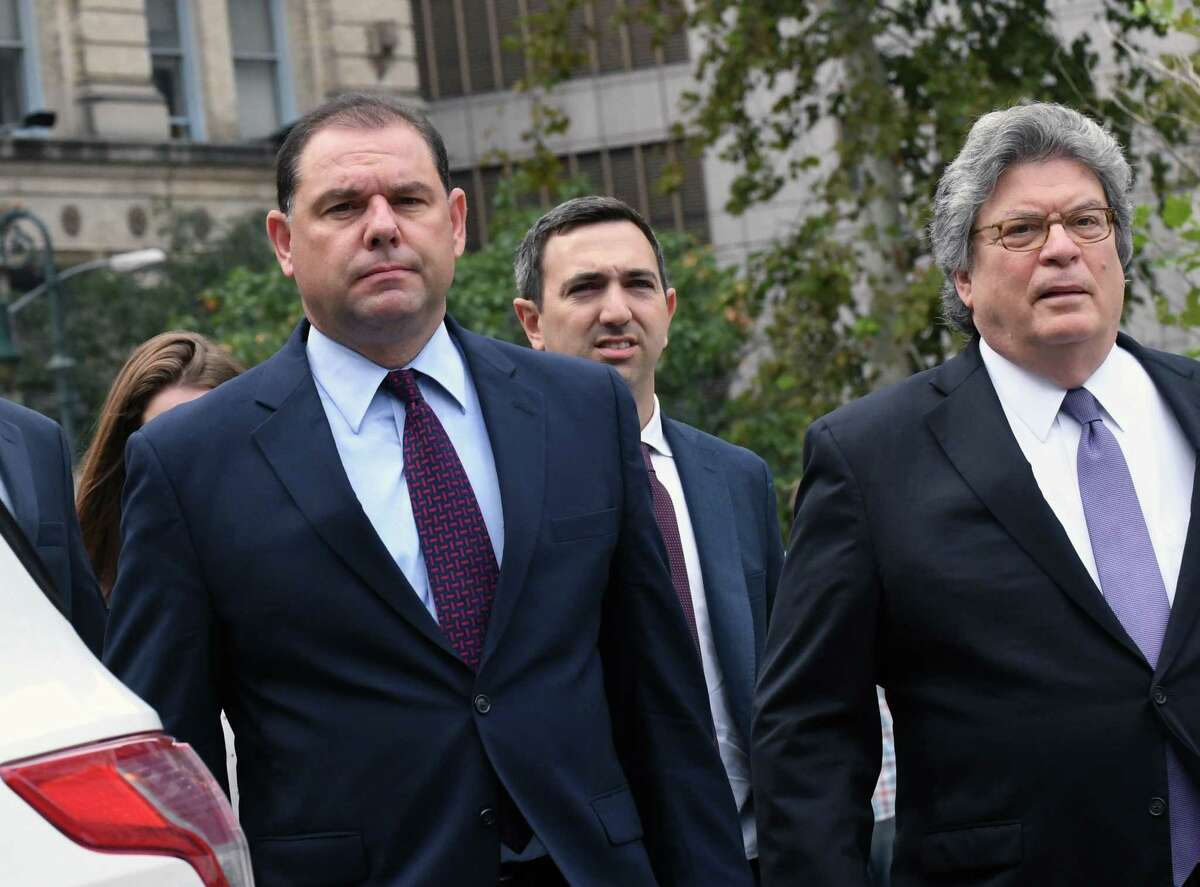 Joseph Percoco, a former top aide to Governor Andrew Cuomo, left, arrives with his attorney Barry Bohrer, right, at federal court in New York, U.S., on Thursday, Sept. 20, 2018. Percoco will be sentenced for his March conviction on bribery and fraud charges. Photographer: Louis Lanzano/Bloomberg