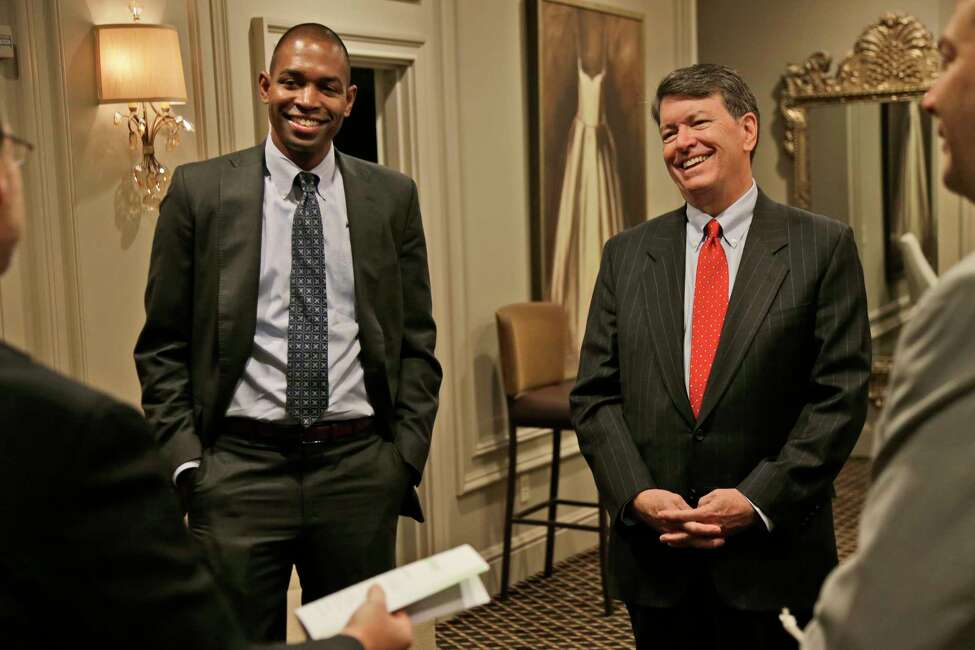 Republican U.S. Rep. John Faso, right, and his Democratic challenger, Antonio Delgado, establish ground rules before the start of a candidate forum in Poughkeepsie, N.Y., Wednesday, Oct. 17, 2018. Hip-hop, health care and Brett Kavanaugh have emerged as issues in a too-close-to-call congressional race in New York?'s Hudson Valley that pits the freshman Republican congressman against a rapper-turned-corporate lawyer seeking his first political office. (AP Photo/Seth Wenig)