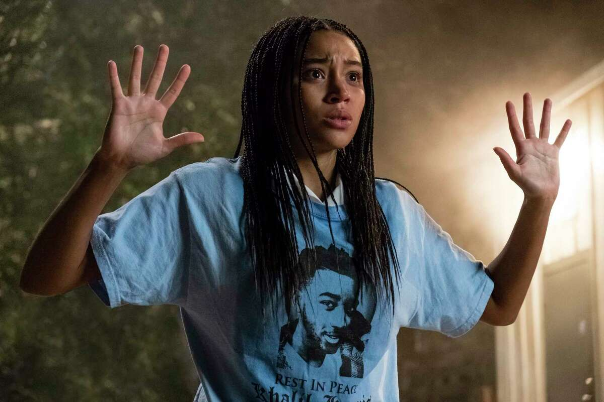 """This image released by 20th Century Fox shows Amandla Stenberg in a scene from """"The Hate U Give."""" (Erika Doss/20th Century Fox via AP)"""