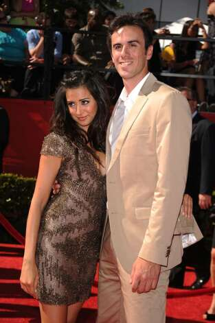 LOS ANGELES, CA - JULY 14:  Actress Noureen DeWulf and NHL goalie Ryan Miller arrive at the 2010 ESPY Awards at Nokia Theatre L.A. Live on July 14, 2010 in Los Angeles, California.  (Photo by Jason Merritt/Getty Images) *** Local Caption *** Noureen DeWulf;Ryan Miller Photo: Jason Merritt, Getty Images / 2010 Getty Images