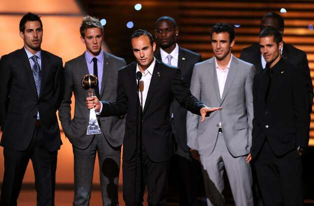 LOS ANGELES, CA - JULY 14:  Landon Donavan with teammates of the US National Soccer team speaks onstage after receiving the ESPY award for Best Moment during the 2010 ESPY Awards at Nokia Theatre L.A. Live on July 14, 2010 in Los Angeles, California.  (Photo by Kevin Winter/Getty Images) *** Local Caption *** Landon Donavan Photo: Kevin Winter, Getty Images / 2010 Getty Images