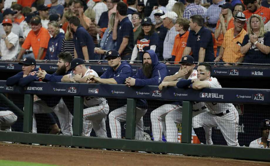 Members of the Houston Astros watch during the ninth inning in Game 5 of a baseball American League Championship Series against the Boston Red Sox on Thursday, Oct. 18, 2018, in Houston. Photo: Frank Franklin II, STF / Associated Press / Copyright 2018 The Associated Press. All rights reserved