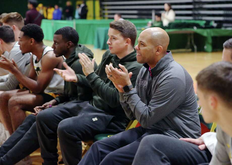 Siena mens basketball head coach Jamion Christian cheers on teammates during Siena Madness Thursday, Oct. 18, 2018 at Siena's Alumni Recreation Center. Photo: Phoebe Sheehan