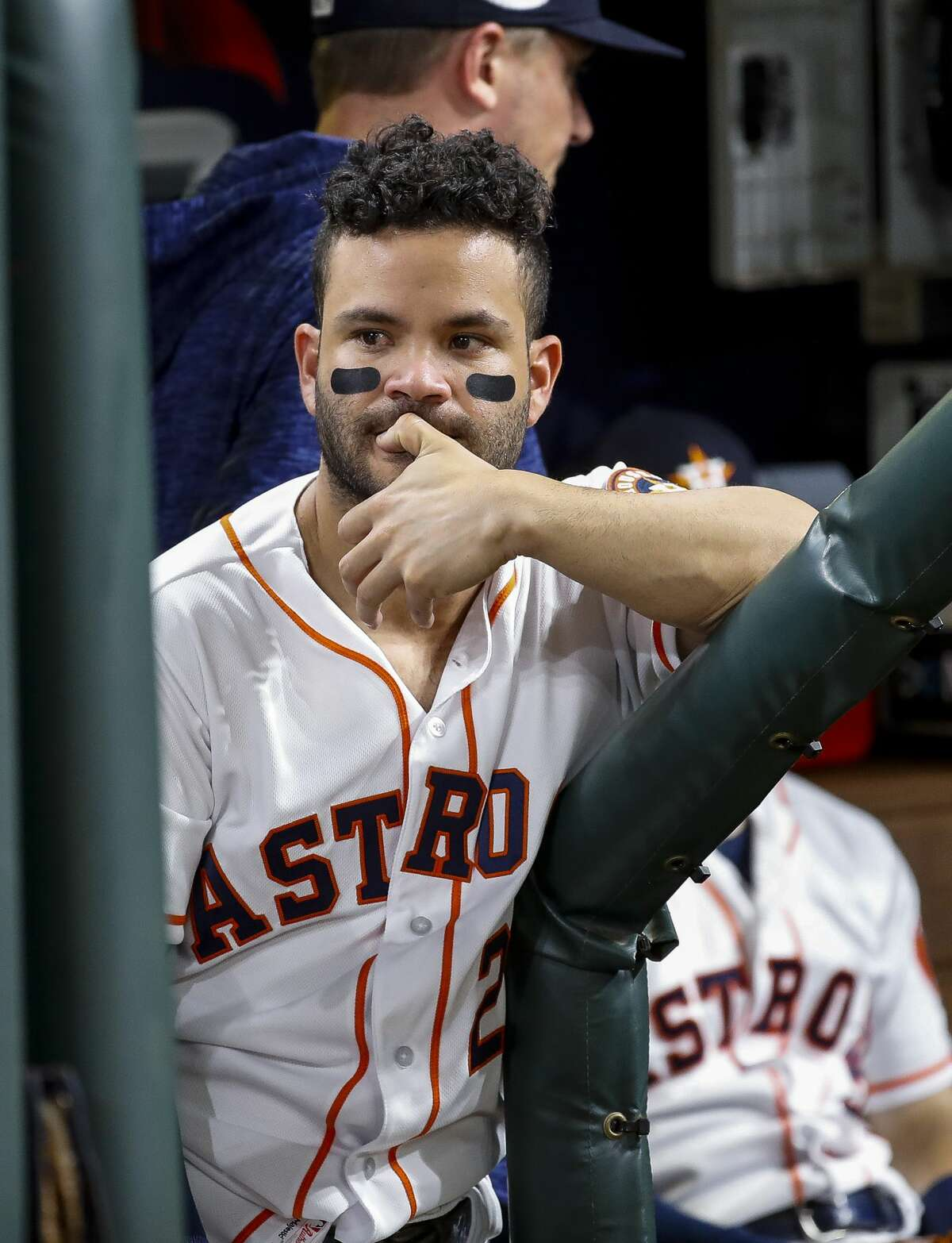 Houston Astros designated hitter Jose Altuve (27) reacts from the dugout at the end of Game 5 of the American League Championship Series at Minute Maid Park on Thursday, Oct. 18, 2018, in Houston.