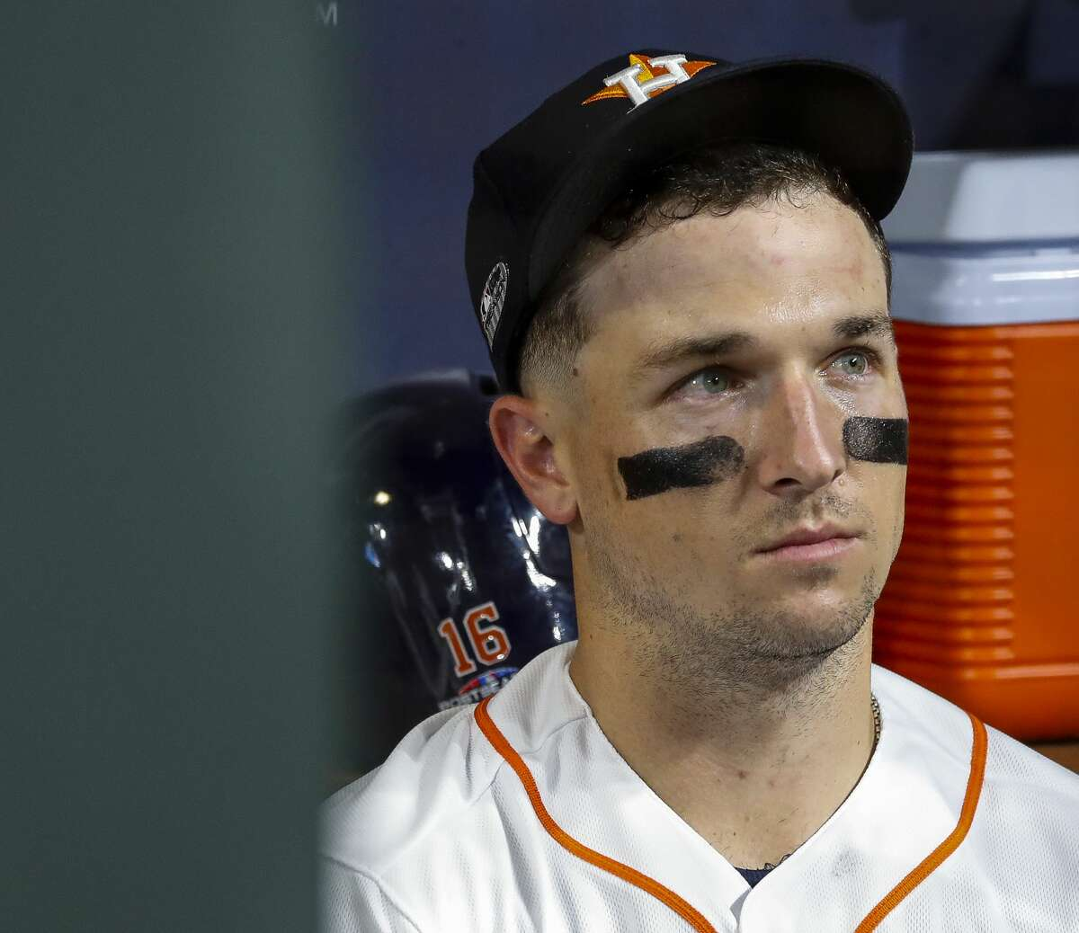 Houston Astros Alex Bregman (2) reacts from the dugout at the end of Game 5 of the American League Championship Series at Minute Maid Park on Thursday, Oct. 18, 2018, in Houston.