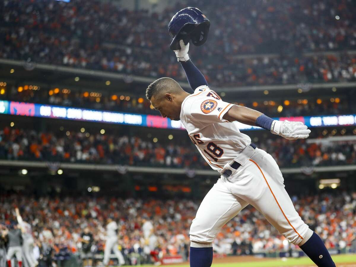 Houston Astros Tony Kemp (18) reacts after flying out to end Game 5 of the American League Championship Series at Minute Maid Park on Thursday, Oct. 18, 2018, in Houston.