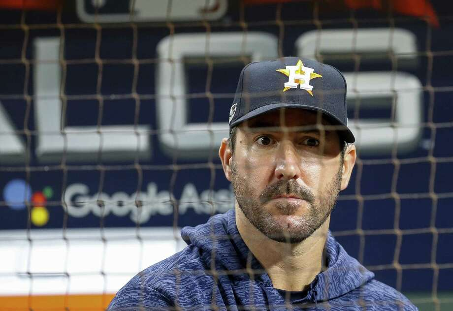 Houston Astros starting pitcher Justin Verlander (35) reacts from the dugout at the end of Game 5 of the American League Championship Series at Minute Maid Park on Thursday, Oct. 18, 2018, in Houston. Photo: Karen Warren, Houston Chronicle / Staff Photographer / © 2018 Houston Chronicle