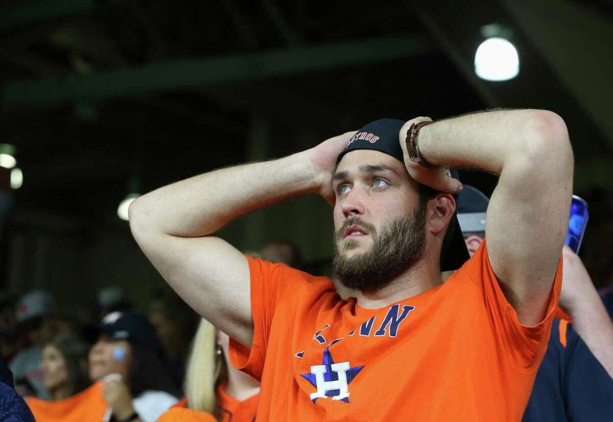 Houston Astros fans are nervous as the Astrost is trailing Game 5 of the American League Championship Series to Boston Red Sox 4-1 at Minute Maid Park on Thursday, Oct. 18, 2018, in Houston.