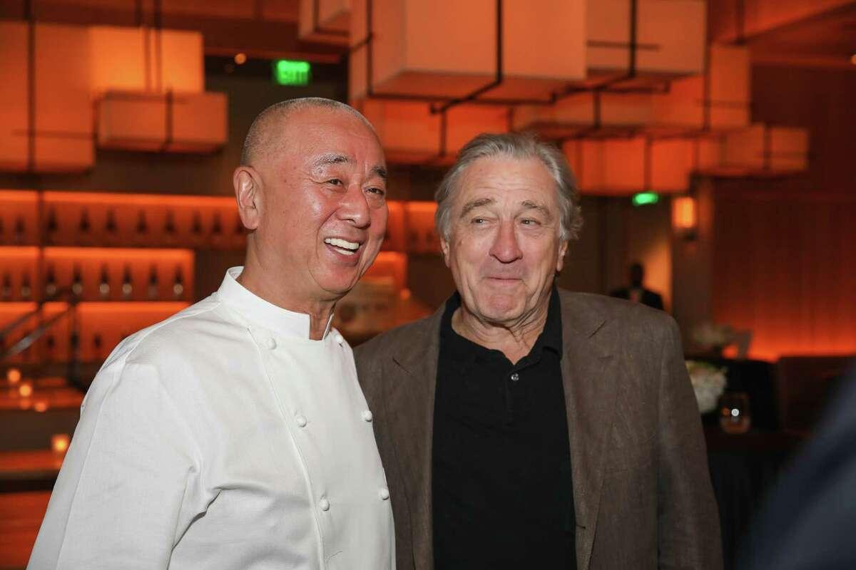 Chef Nobu Matsuhisa and Robert De Niro at Nobu Houston Sake Ceremony.