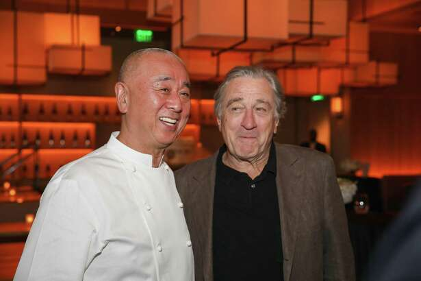 HOUSTON, TX - OCTOBER 18: Chef Nobu Matsuhisa (L) and Robert De Niro at Nobu Houston Sake Ceremony on October 18, 2018 in Houston, Texas.