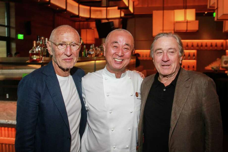 Meir Teper, from left, chef Nobu Matsuhisa, and Robert De Niro, co-founders of Nobu, at the restaurant for a sake ceremony that acts as the official grand opening of Nobu at the Galleria. Photo: Gary Fountain, Contributor / © 2018 Gary Fountain