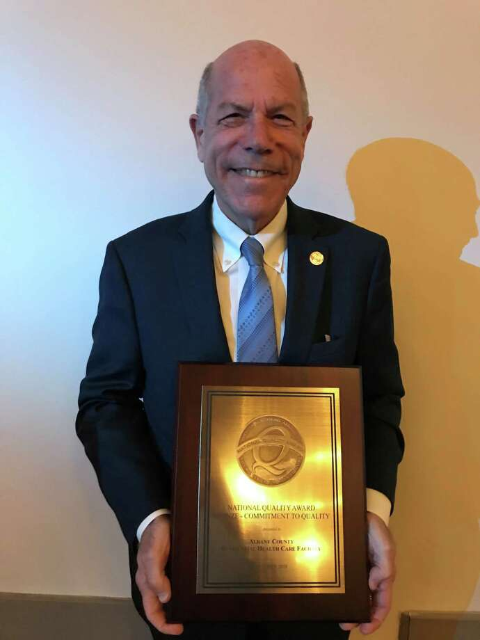 Albany County Nursing Home Executive Director Larry Slatky accepts 2018 Bronze National Quality Award at the American Health Care Association and National Center for Assisted Living award ceremony in San Diego, Cali. Photo: Photo Courtesy Of Albany County