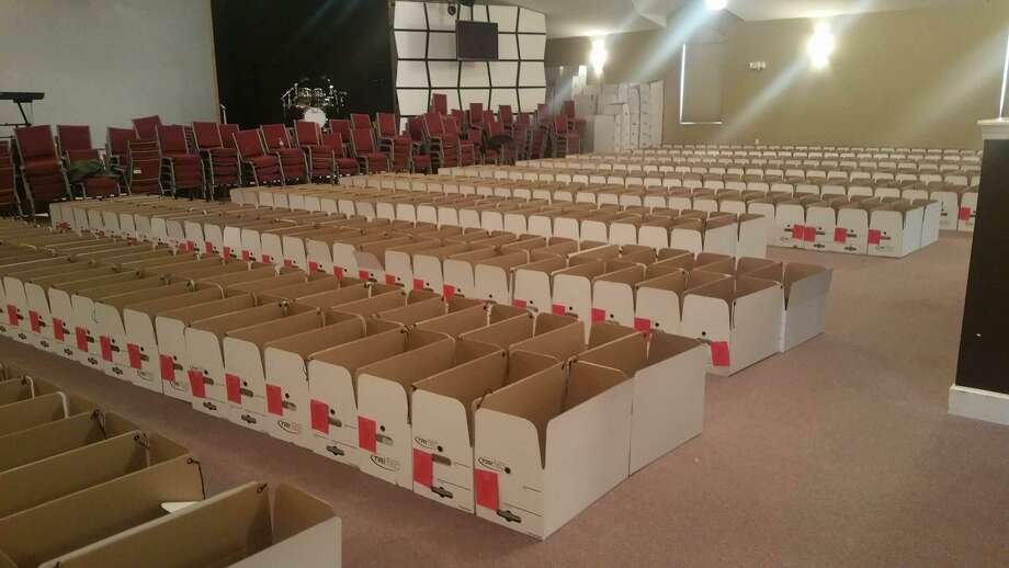 Boxes are lined up for the Middletown Community Thanksgiving Project. This year, Middlesex United Way volunteers are set to assemble 1,000 baskets for local families and individuals in need. Photo: Contributed Photo