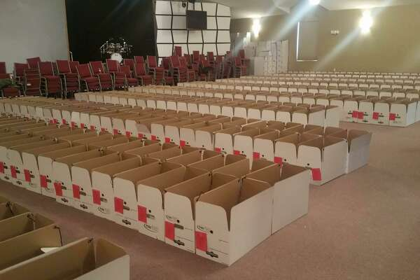Boxes are lined up for the Middletown Community Thanksgiving Project. This year, Middlesex United Way volunteers are set to assemble 1,000 baskets for local families and individuals in need.