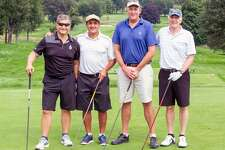 Nearly $160,000 was raised by 110 area business professionals during the Maritime Aquarium at Norwalk's eighth annual Maritime Golf & Tennis Classic on Sept. 17 at Wee Burn Country Club. Among the foursomes were, from left, Scott Gerard of Fairfield, Frank Micalizzi of Ridgefield, Sam Tingley of New Canaan and Chris Von Ancken of Easton.