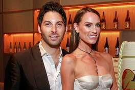Samuel Deutsch and Lauren Craft near the sake barrel at Nobu during the official grand opening.