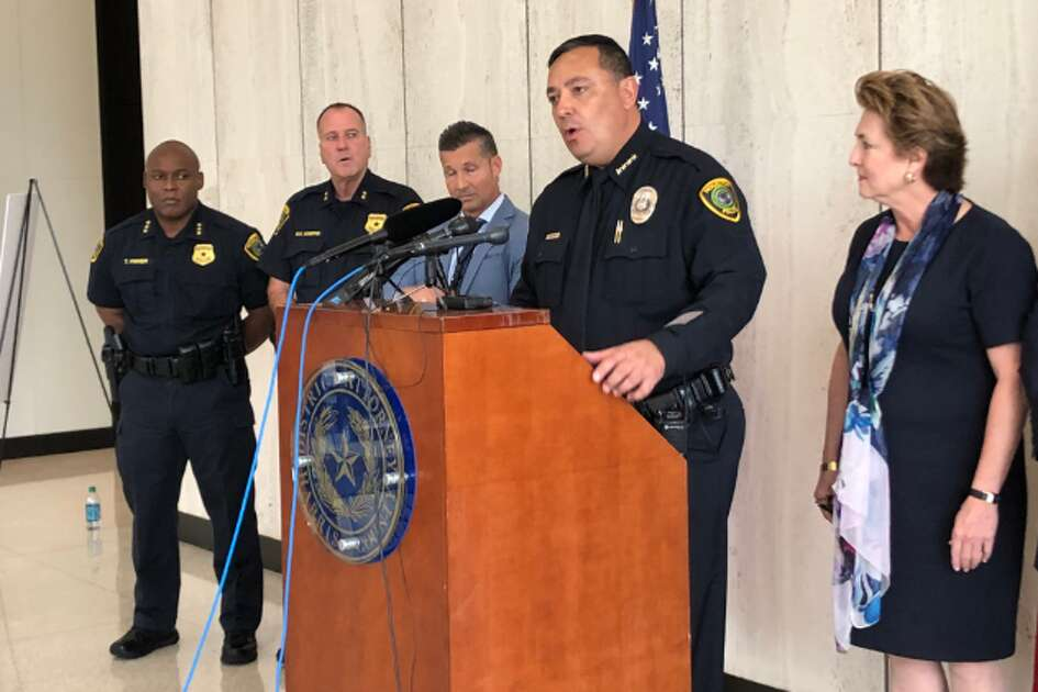 Houston Police Department Chief Art Acevedo, center, discusses a two-year undercover operation that targeted Chinatown gambling parlors on Friday, Oct. 19, 2018.