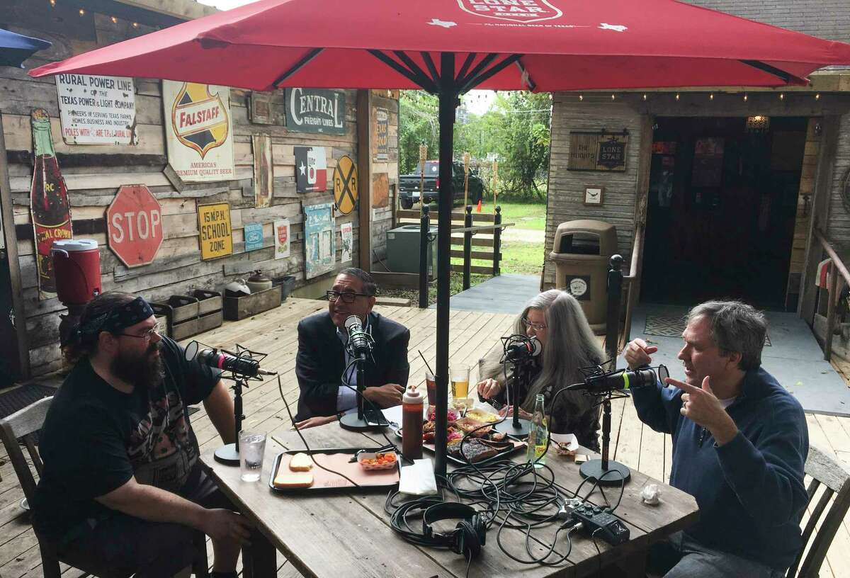 Willow Villarreal of Willow's Texas BBQ talks to the hosts of the BBQ State of Mind podcast (shown: Food editor Greg Morago, restaurant critic Alison Cook and barbecue columnist J.C.