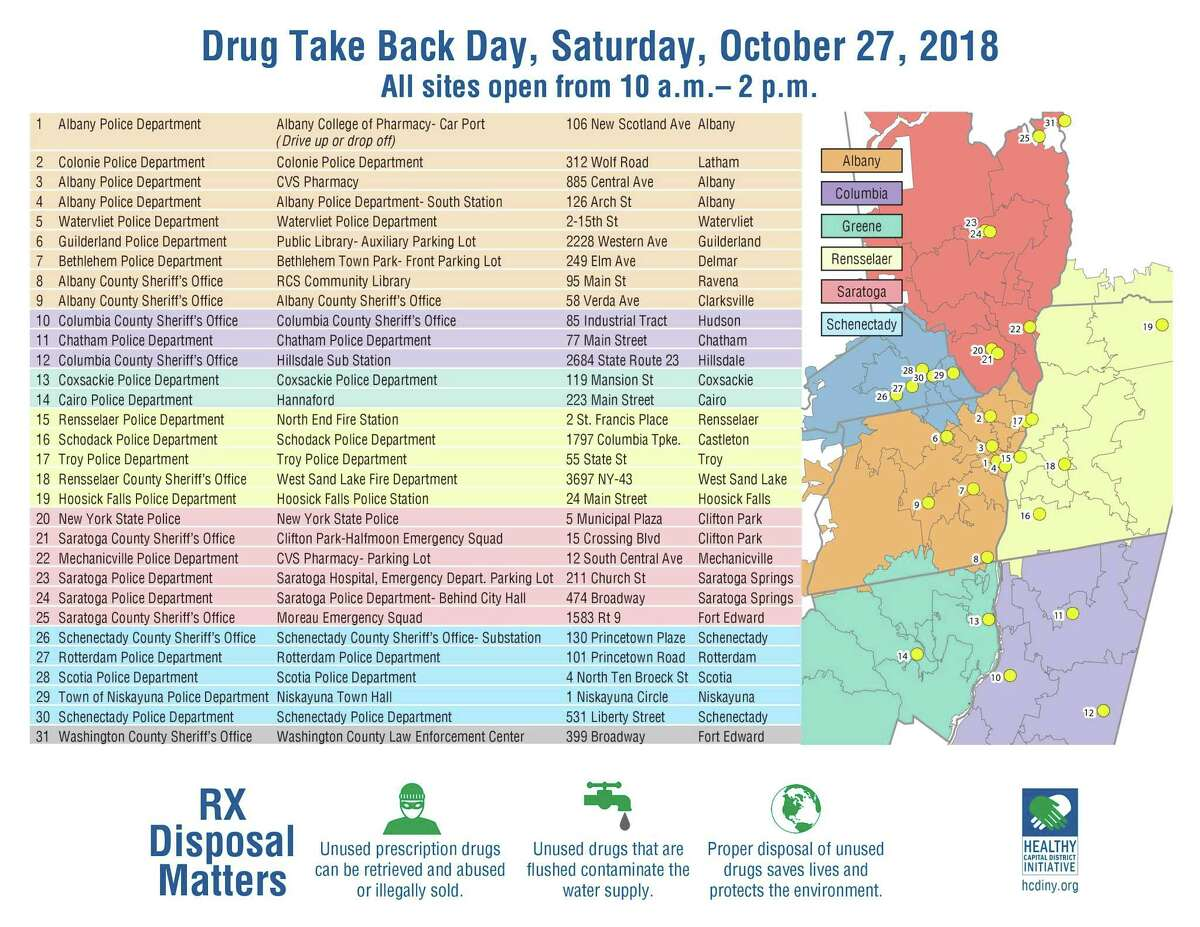 The U.S. Drug Enforcement Agency will host its16th National Prescription Drug Takeback Dayon Saturday, Oct. 27, 2018 from 10 a.m. to 2 p.m., in which authorized collectors nationwide set up shop in public spaces to take your unwanted drugs and properly dispose of them. The Capital Region will host dozens of these collection sites, mostly at police stations, fire stations, health centers and pharmacies.
