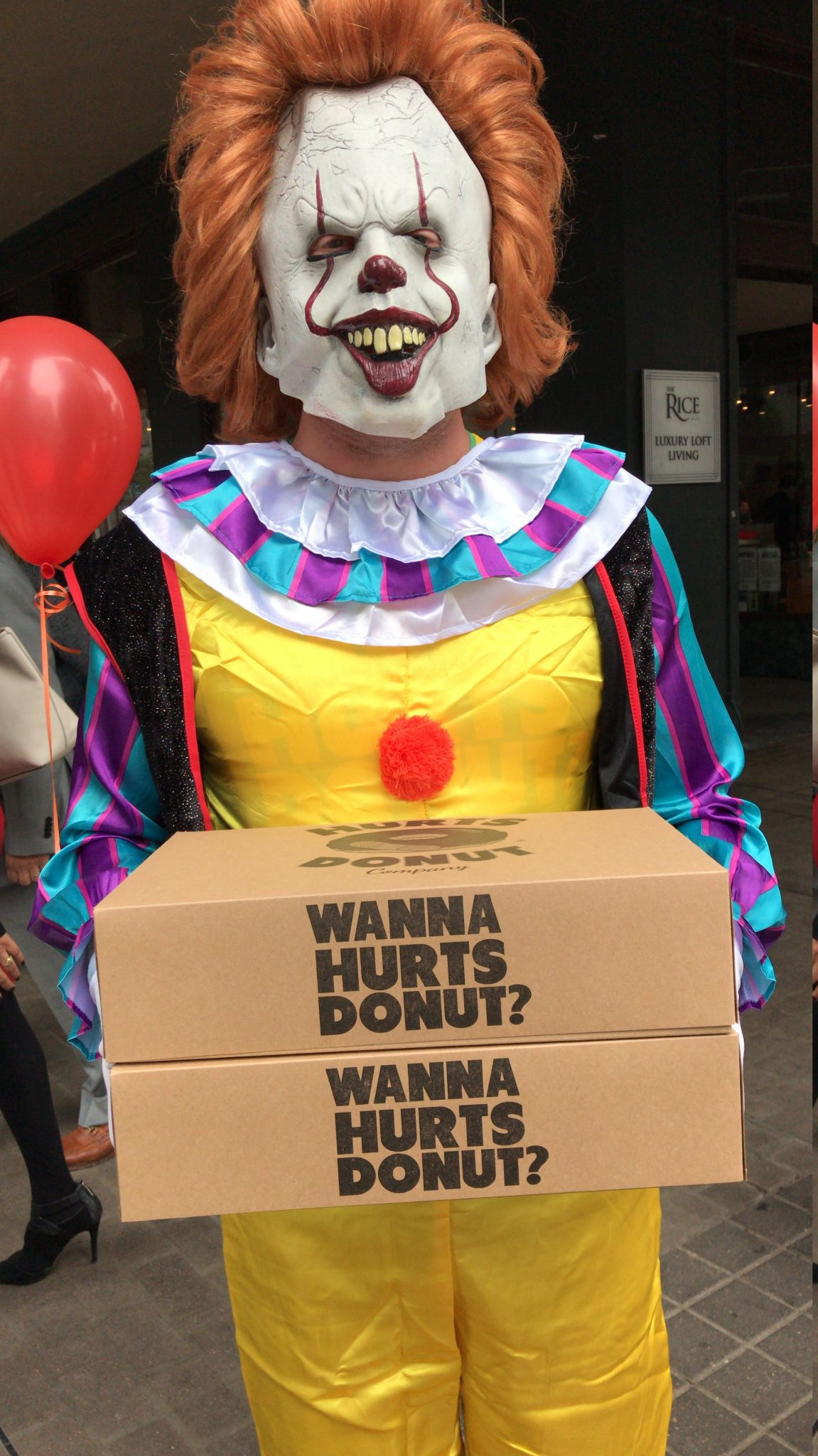 houstonians freak out as scary clowns make unexpected doughnut