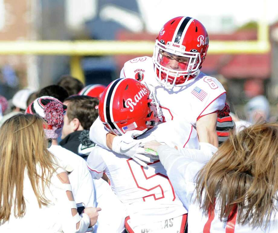 The 2017 Turkey Bowl high school football game between Darien High School and New Canaan High School at Boyle Stadium in Stamford, Conn., Thursday, Nov. 23, 2017. New Canaan won the game 27-0, beating an undefeated Darien team that was without starting quarterback Jack Joyce and star defensive back Brian Minicus, both of whom were arrested Wednesday night on charges stemming from an assault earlier in the month. Photo: Bob Luckey Jr. / Hearst Connecticut Media / Greenwich Time