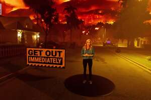 Stephanie Abrams in a wildfire augmented reality animation for The Weather Channel.
