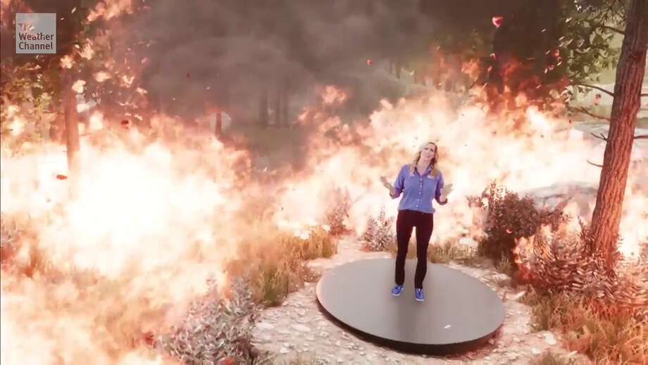 Stephanie Abrams in a wildfire mixed reality animation for The Weather Channel. Photo: The Weather Channel